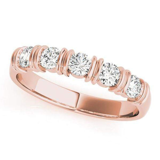 Wedding Bands 1/2 / 14kt / Pink Wedding Bands Bar Set angelucci-jewelry