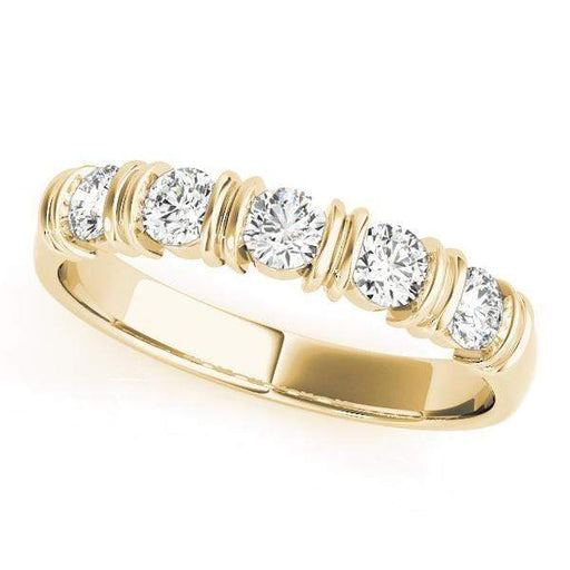 Wedding Bands 1/2 / 14kt / Yellow Wedding Bands Bar Set angelucci-jewelry