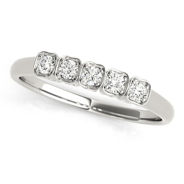 1/8 Carat 5 Stone Round Diamonds Prong Set with Square Borders Wedding Band-Angelucci-Jewelry