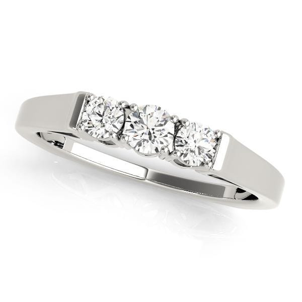 Antique 1/3 Carat 3 Stone Round Diamonds Prong Set Wedding Band-Angelucci-Jewelry