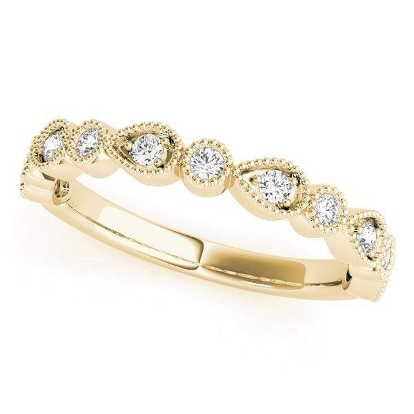 angelucci-jewelry-1/6-Carat Round Brilliant Shape Bezel-Set Stackable Diamond Wedding Ring with Milgraine Borders