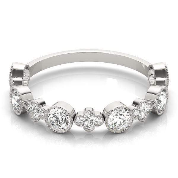 angelucci-jewelry-1/3-Carat Round Brilliant Shape Bezel and Cluster Set Diamond Wedding Ring with Milgraine Borders