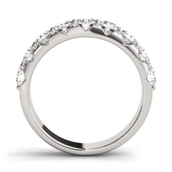 1.20 Carat 7+ Stone Round Diamonds Prong Set Wedding Band-Angelucci-Jewelry