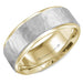 White and Yellow Gold Sandblast Hammered Center & High Polish Edges Mens Wedding Band angelucci-jewelry