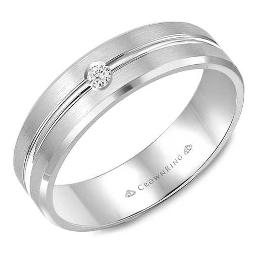 White Gold Brushed Band with Center-Line Mens Diamond Wedding Band angelucci-jewelry