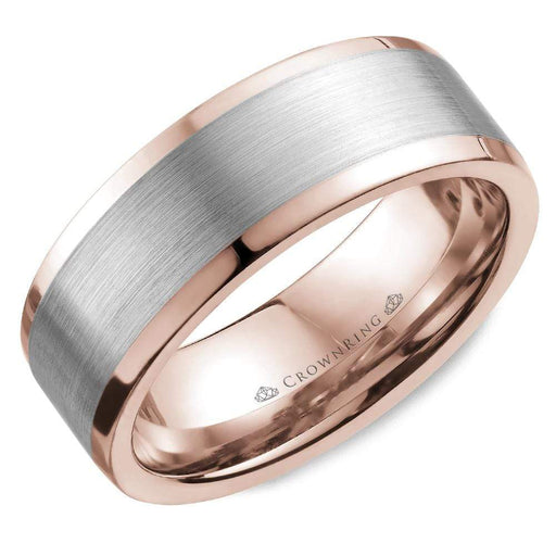 White Gold Center With Rose Gold Inlay Sandpaper Center & High Polish Sides Mens Wedding Band angelucci-jewelry