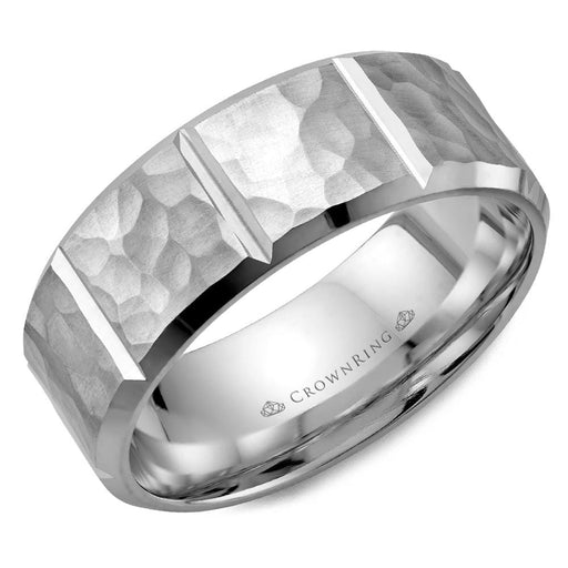 White Gold Frosted Hammered Top & High Polish Cuts/Bevel Mens Wedding Band angelucci-jewelry