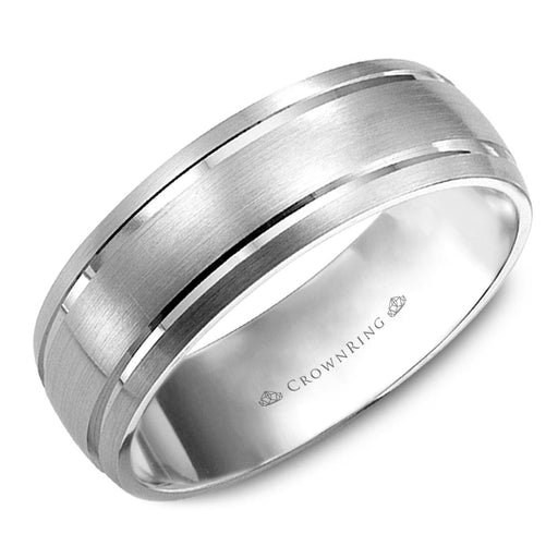 White Gold Half-Curved Brushed Mens Wedding Band with Double Etched Lines angelucci-jewelry