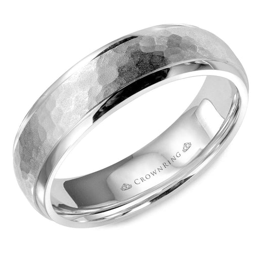 White Gold Sandblast Hammered Center & High Polish Edges Mens Wedding Band angelucci-jewelry