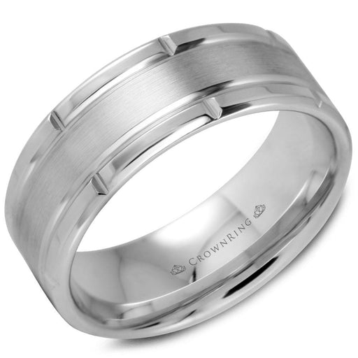 White Gold Sandpaper Center & High Polish Sides/Bevel Mens Wedding Band angelucci-jewelry
