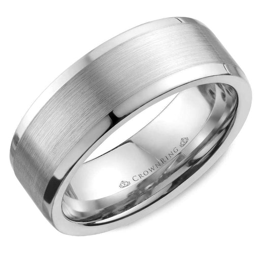 White Gold Sandpaper Center & High Polish Sides Mens Wedding Band angelucci-jewelry