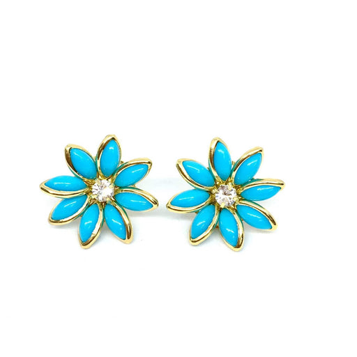 Women - Jewelry - Earrings 18k GL Turquoise Flower Earrings angelucci-jewelry