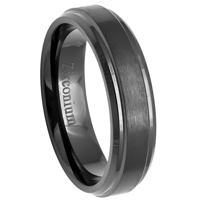 Zirconium Mens Wedding Band: Natural Gun Metal Tone Brushed Center with Stepped Edge - 6mm angelucci-jewelry