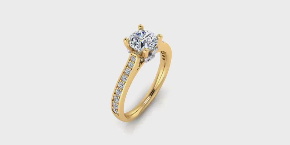 One Carat Round Center Diamond Engagement Ring with Side Diamonds w Fluer-Di-Lis Yellow Gold Accent-Angelucci Jewelry
