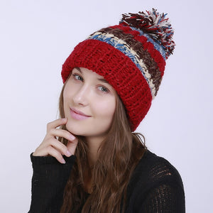 6bd76cbcc43 Pompom Hat Winter Cap Warm Skullies Beanies Women s Striped Hat Slouchy Knitted  Hats for Girl Casual Cotton Cap Female Beanie