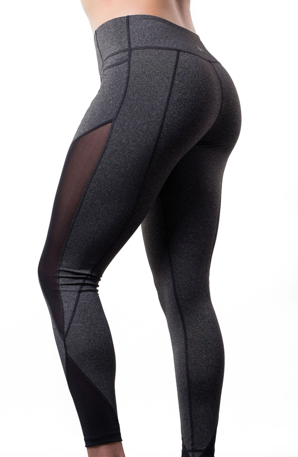 Grey Mesh Kamili Yoga Pants Side