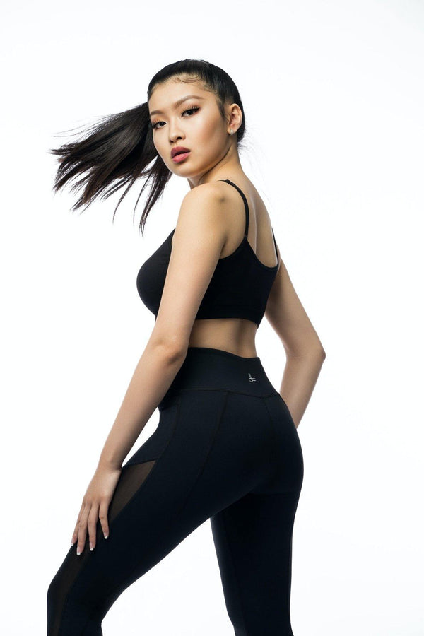 Black Mesh Kamili Yoga Pants Angle