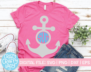 Anchor Monogram Frame SVG Cut File