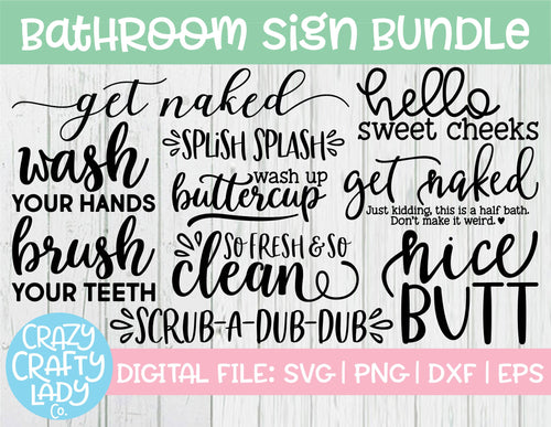 Bathroom Sign SVG Cut File Bundle