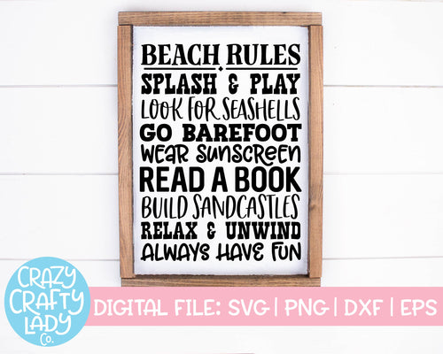 Beach Rules SVG Cut File