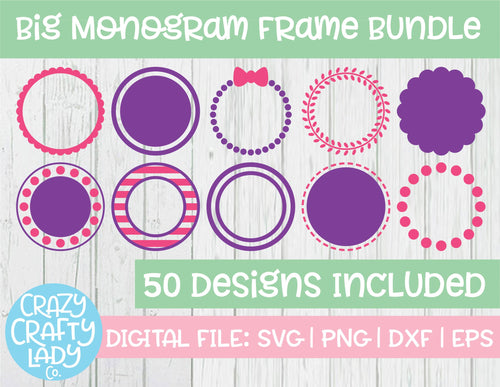 Big Monogram Frame SVG Cut File Bundle