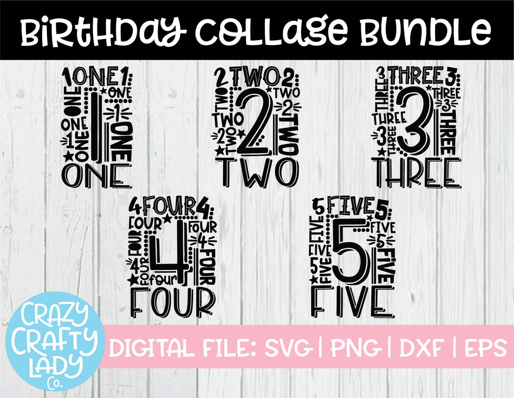 Birthday Collage SVG Cut File Bundle (1-5)