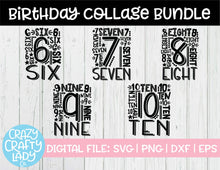 Load image into Gallery viewer, Birthday Collage SVG Cut File Bundle (6-10)