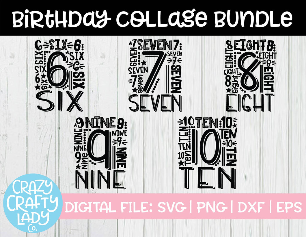 Birthday Collage SVG Cut File Bundle (6-10)