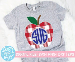 Gingham Apple Monogram Frame SVG Cut File