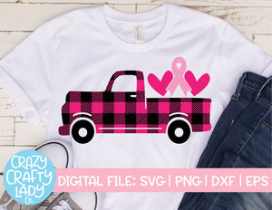 Buffalo Plaid Breast Cancer Awareness Truck SVG Cut File