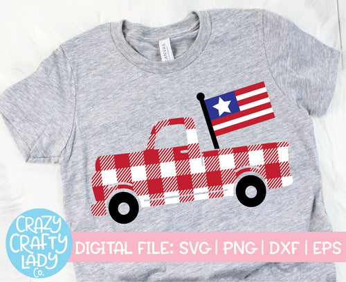 Buffalo Plaid American Flag Truck SVG Cut File