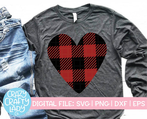 Buffalo Plaid Heart SVG Cut File