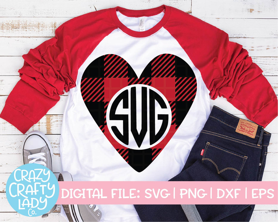 Buffalo Plaid Heart Monogram Frame SVG Cut File