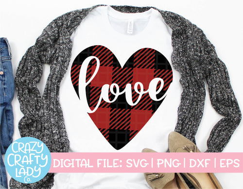 Buffalo Plaid Love Heart SVG Cut File