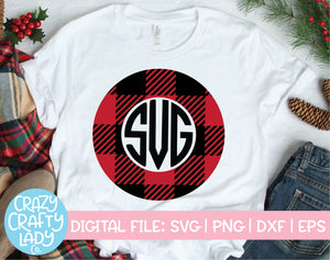 Buffalo Plaid Monogram Frame SVG Cut File