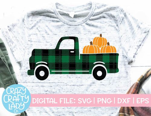 Buffalo Plaid Pumpkin Truck SVG Cut File