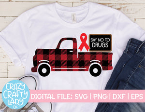 Buffalo Plaid Say No to Drugs Truck SVG Cut File