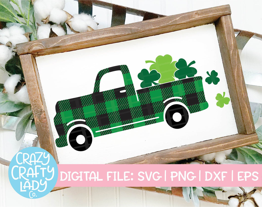 Buffalo Plaid Shamrock Truck SVG Cut File