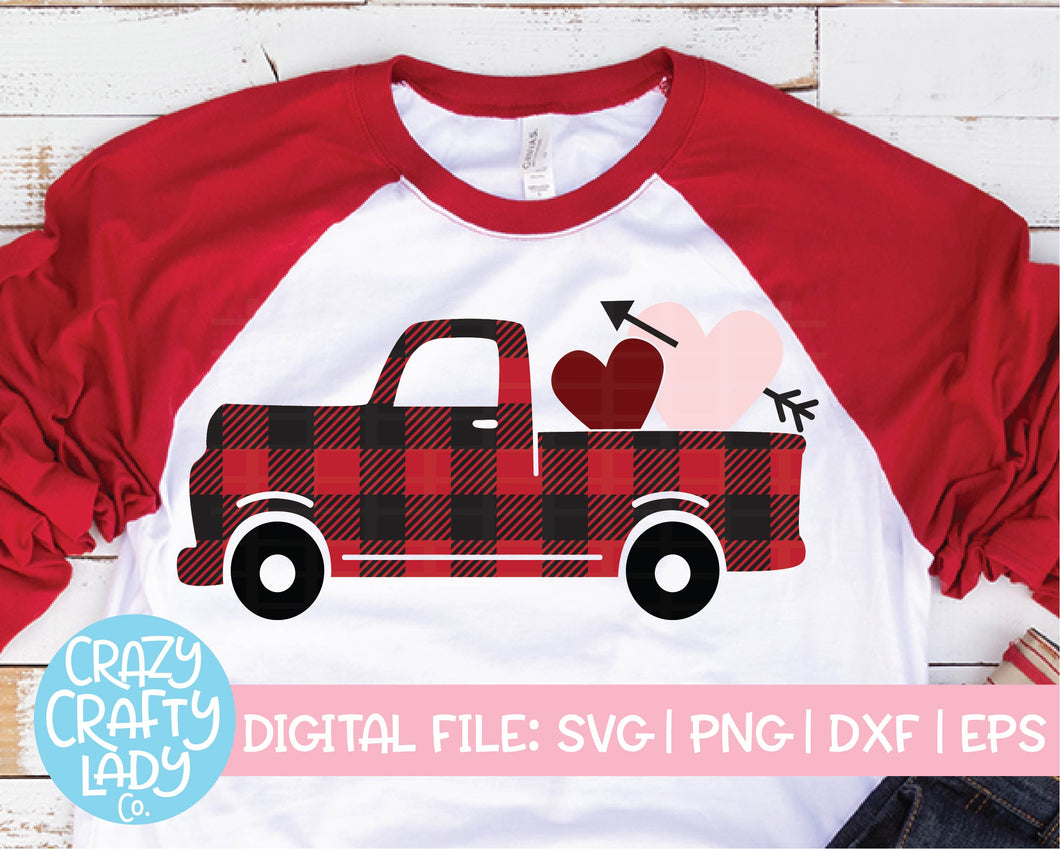 Buffalo Plaid Valentine's Day Truck SVG Cut File