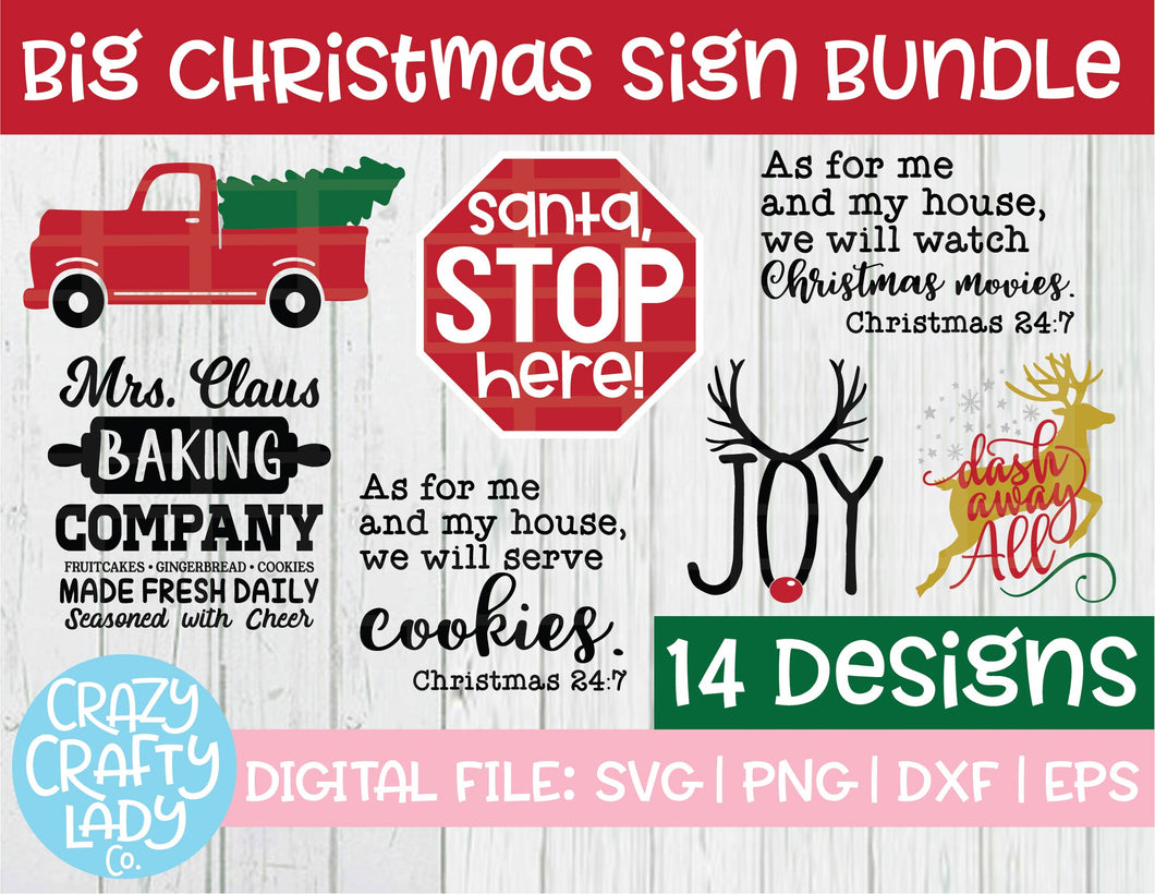 Big Christmas Sign SVG Cut File Bundle
