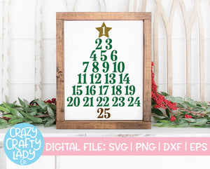 Christmas Tree Advent Calendar SVG Cut File