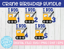 Load image into Gallery viewer, Crane Birthday SVG Cut File Bundle