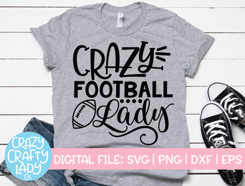 Crazy Football Lady SVG Cut File