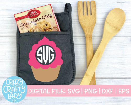 Cupcake Monogram Frame SVG Cut File