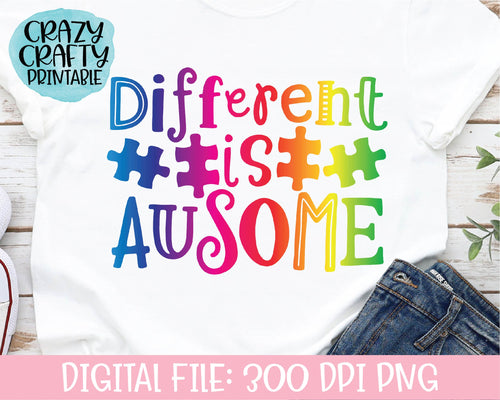 Different Is Ausome PNG Printable File