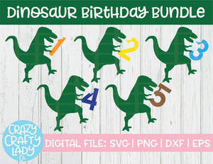 Dinosaur Birthday SVG Cut File Bundle