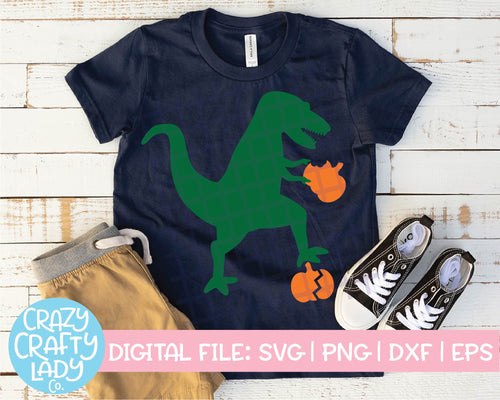 Fall Dinosaur SVG Cut File