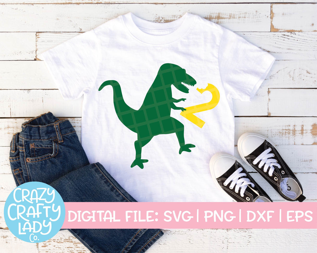 Dinosaur 2nd Birthday SVG Cut File
