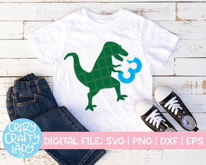Dinosaur 3rd Birthday SVG Cut File