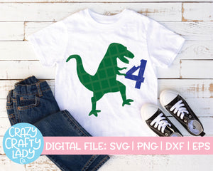 Dinosaur 4th Birthday SVG Cut File